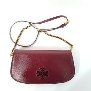 Tory Burch Britten Red Agate Patent Leather Clutch